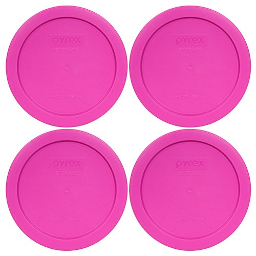 Pyrex 7201-PC Round 4 Cup Storage Lid for Glass Bowls (4, Berry Pink)