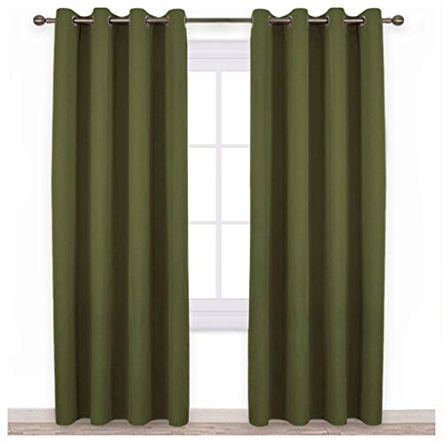 NICETOWN 84 Bedroom Curtains Panels - Functional Blackout Curtains/Panels for Bedroom, Thermal Insulated, Privacy Assured (Set of 2, 52 x 84 Inch in Olive Green)