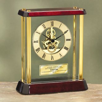 Table Wood Desk Clock Enclosed Glass Brass Pillars DaVinci Dial Gold Engraving Plate. Personalized clock anniversary retirement gift corporate employee recognition service award birthday coworker