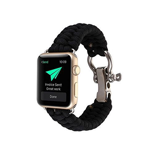 Price comparison product image Kobwa 38MM/42MM Watch Band for Apple Watch, Paracord Woven Nylon Rope Straps Outdoor Survival Watchband Bracelet Fashion Replacement Wristband for Apple Watch IWatch Series 1 2