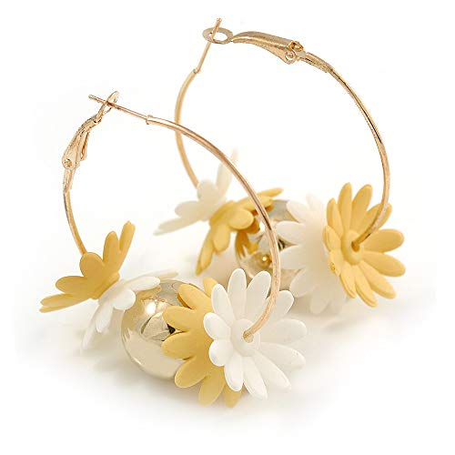(40mm Gold Tone Slim Hoop Earrings with Floral and Ball Charm)