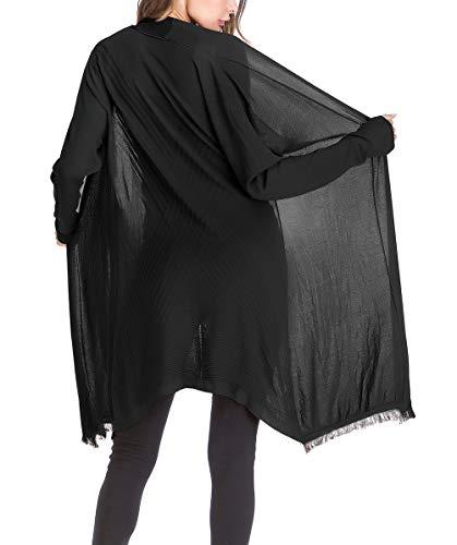 Giacca Bobo E 88 Tassels Solare Nero Lunghe Traspirante Cappotto Maglieria Sezioni Autunno Manica Sottile Lunga Unique Protezione Stlie Coat A Maglia Casual Monocromo Donna tsQdrxCh