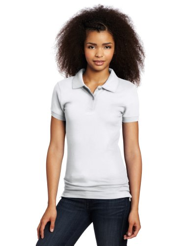 Lee Uniforms Juniors Stretch Pique Polo, White, Small