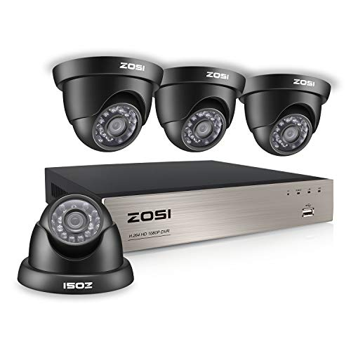ZOSI Security Cameras System 8CH 1080P DVR Recorder and (4) HD 2.0MP 1920TVL Surveillance Weatherproof Outdoor Indoor CCTV Cameras with 65ft Night Vision, Motion Alert, Remote Access, NO Hard Drive