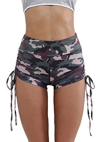 Nihsatin Women's Fitness Yoga Shorts High Waist Side Ruched Butt Push Up Hot Pants Camouflage
