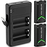 Upgraded Version Xbox One Battery Pack 2 x 2200mAh Rechargeable Battery for Xbox One/Xbox One S/Xbox One X/Xbox One Elite Wireless Controller