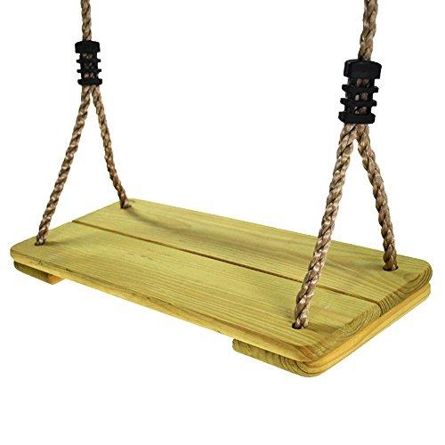 43' Seat (NOSTAFY Pine Wooden Nostalgic Hanging Swing Seat Outdoor Patio & Garden Playground Hammock - Height Adjustable)