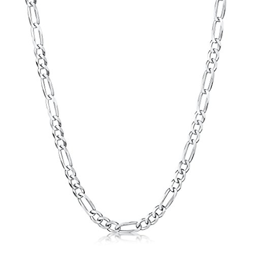 141e233824b1 Buena Amberta 925 Plata De Ley Esterlina Collar Para Hombre - Cadena De  Fígaro 3.9 mm