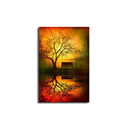 - Lovescenario Colourful Art Retro Dusk Tree in The Shadow Canvas Prints Painting No Frame Wall Display Decor