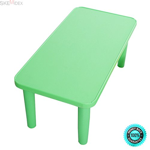 SKEMiDEX---Kids Portable Plastic Table Learn and Play Activity School Home Furniture Green. It Is Ideal For Lunch, Art Projects And Homework Or Story Time by SKEMiDEX