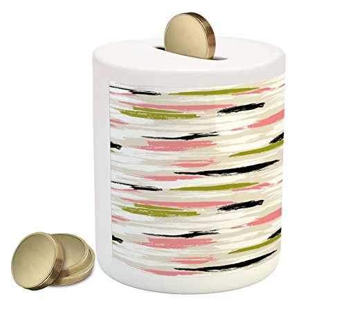 - Ambesonne Art Piggy Bank, Bold Pattern with Thick Brushstrokes and Stripes Hand Painted Boho Print, Printed Ceramic Coin Bank Money Box for Cash Saving, Coral Black Olive Green