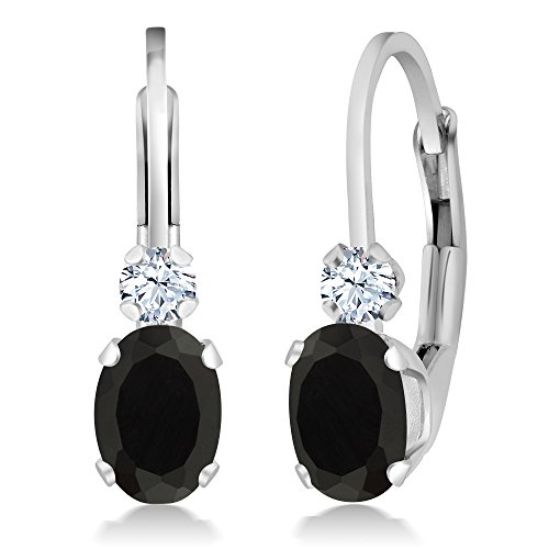 Gem Stone King Black Onyx and White Created Sapphire 925 Sterling Silver Leverback Earrings, 0.86 Cttw Oval