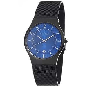 Skagen Men's 233XLTMNC Titanium Blue Dial Titanium Watch