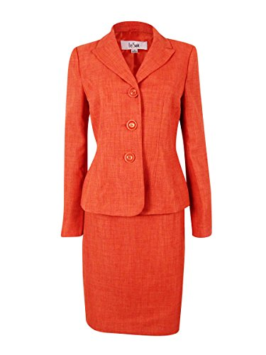 Le Suit Women's Cote d'Azur Woven Skirt Suit Set (6, Tangerine) by Le Suit