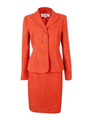 Le Suit Women's Cote d'Azur Woven Skirt Suit Set (6, Tangerine) by Le Suit