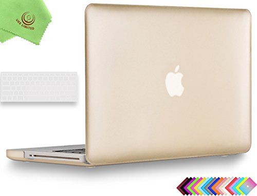 UESWILL 2in1 Luxury Gold Smooth Soft-Touch Rubber Coated Hard Shell Case with Silicone Keyboard Cover for MacBook Pro 15