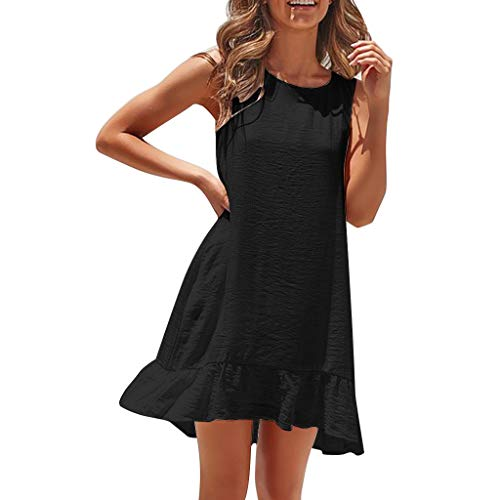 Toponly Women's Casual Beach Summer Mini Dresses Solid Halter Sleeveless Flattering A-Line Spaghetti Strap Sundress -