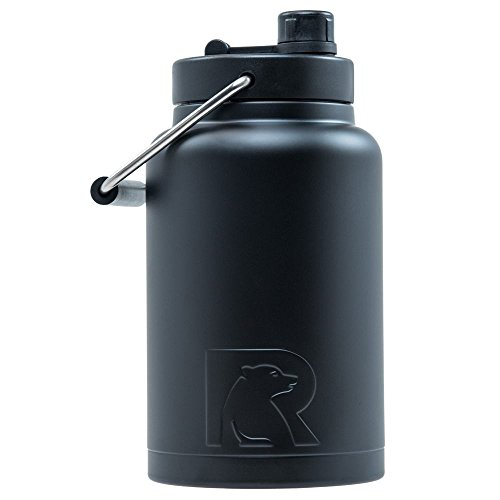 RTIC Double Wall Vacuum Insulated Stainless Steel Jug (Black, Half Gallon) by RTIC