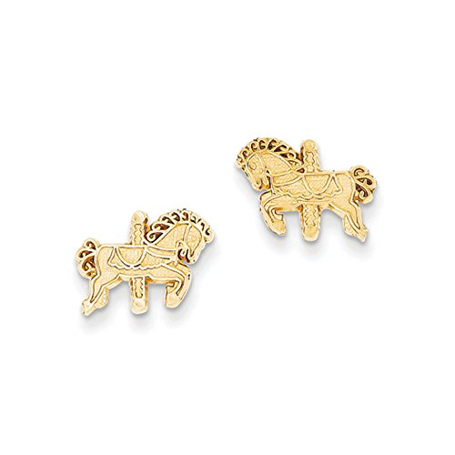 11mm Carousel Horse Post Earrings in 14k Yellow Gold by The Black Bow