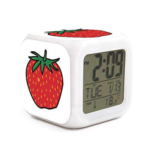 (SDDFE Alarm Clockstrawberry Cartoon Digital Alarm Clock Alarm Clock for Kids Well Functional Large Night Light Full Range Brightness Dimmer Digit)