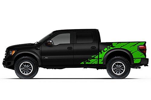 "Ford F-150 Raptor SVT 2010-2014 Crew Cab Standard Bed ""RAPTOR"" SHREDS V2 Graphics Kit 3M Vinyl Decal Wrap - Grass Green"