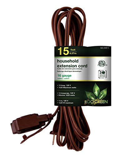 GoGreen Power GG-24815 16/2 15' Household Extension Cord - Brown ()