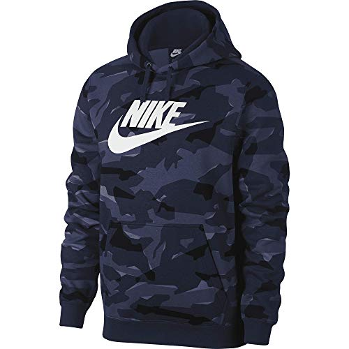 (Nike Mens Club Camo Pullover Hoodie Midnight Navy/White AR2867-657 Size)