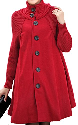 Fulok Women Casual Single Breasted High Neck Wool Blend Trench Coat Red XL