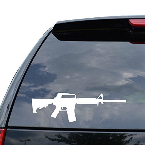 AR-15 Assault Rifle Decal Sticker Car Truck Motorcycle Window Ipad Laptop Wall Decor - Size (18 inch / 46 cm Wide) - Color (Matte WHITE)