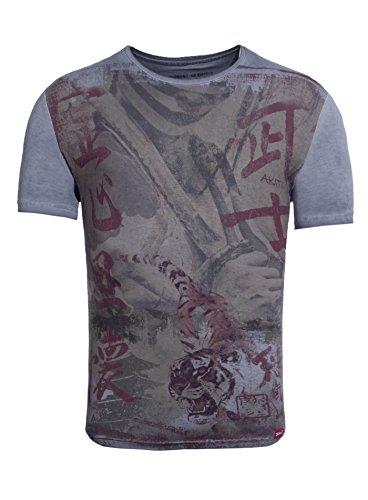 Tanaka Samurai Homme Fighter shirt Akito Millésime Printshirt Tiger T Anthracite Asiatisch qBIRnd