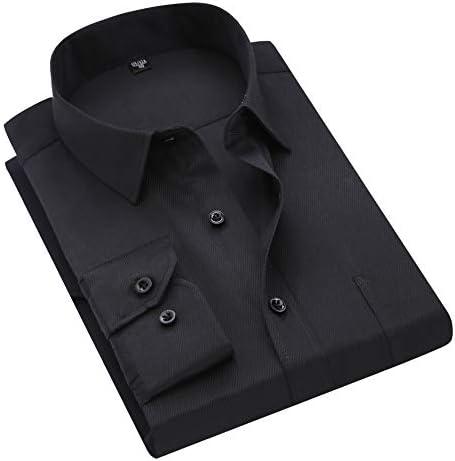 シャツ 長袖 メンズ ビジネス ボタンダウン ワイシャツ 制服 形態安定 スリム 15柄 首周り37-48cm