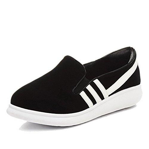 AgooLar Damen Niedriger Absatz Weiches Material Ziehen auf Rund Zehe Pumps Schuhe Schwarz