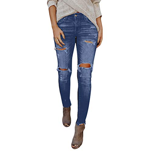 TOPUNDER Hight Waisted Ripped Jeans Women Skinny Hole Denim Jeans Destroyed Slim Pants Sky Blue