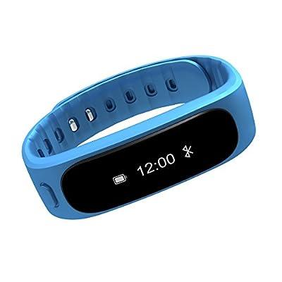 Aottom Fitness Activity Tracker Bluetooth 4.0 Smartband Sport Bracelet Pedometer Wristband For IOS Samsung Android(Blue)