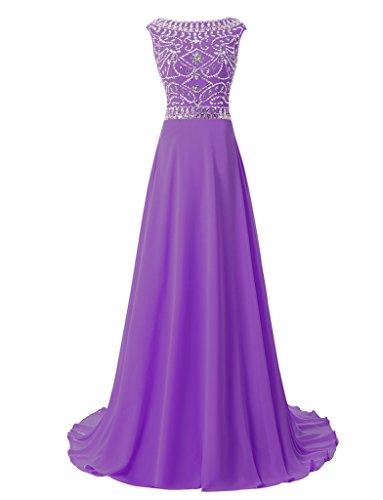 jydress femmes de perles une ligne en mousseline de soie robe Soirée Party robe de soirée 2016 -  violet - 46