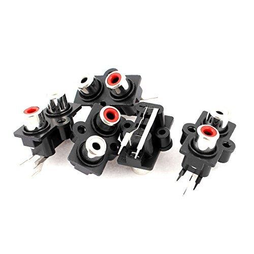 eDealMax 5pcs PCB 2 posizione Stereo Audio Video Jack RCA Connettore femmina