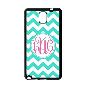 Pink Monogram Personalized Cyan and White Chevron Pattern with Cursive Initials luxury For Case Samsung Galaxy S4 I9500 Cover(Black)By @ALL