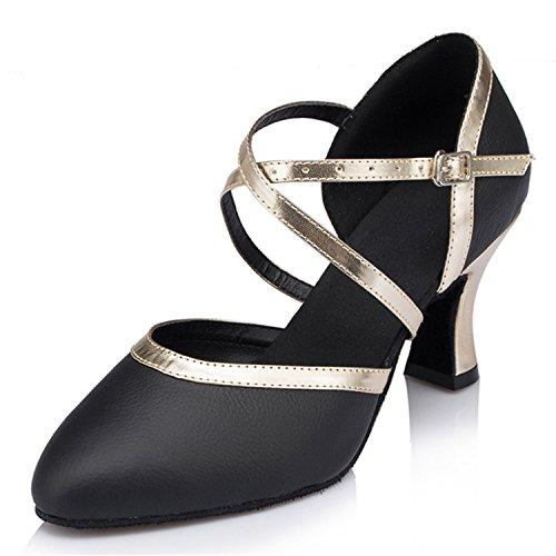 YFF Gift Women dance Shoes Ballroom latin Dance tango dancing shoes 7CM Black
