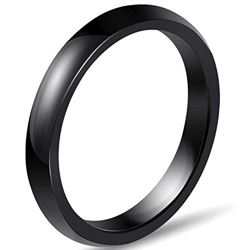 Jude Jewelers 3mm Plain Simple Ceramic Ring Wedding Band Classical Anniversary Stackable (Black, - Stackable 3 Band
