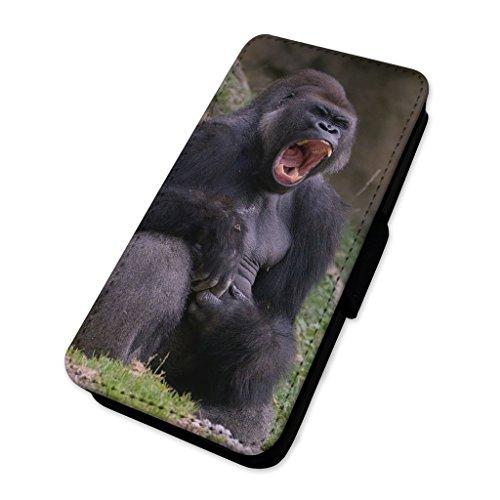 Divertente maschio Gorilla Yawning–Custodia ad aletta in pelle copertura di carta Apple iPhone 6/6S