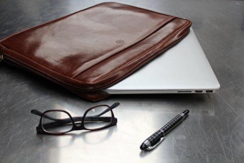 Maxwell Scott Luxury Handmade Italian Leather Laptop / Macbook Sleeve 15 inch (The Verzino) - One Size by Maxwell Scott Bags (Image #7)