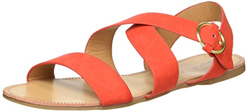 Qupid Women's Caged Sandal Flat, Blood Orange, 8 M US