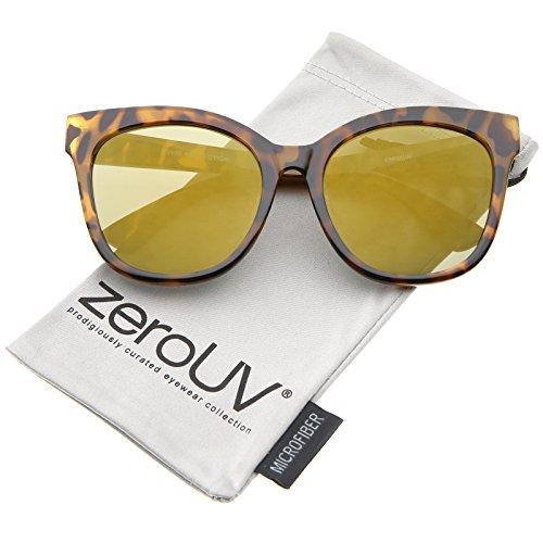 zeroUV - Women's Horn Rimmed Color Mirror Flat Lens Oversize Cat Eye Sunglasses 57mm (Tortoise / Gold - Flat Optics Lens