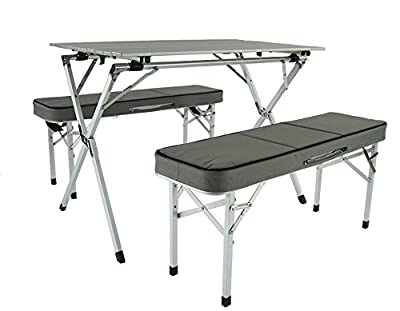 Onway Aluminum Portable Folding Roll Table & Bench Set - Camping Table / Outdoor Table / Table in Benches / Foldable Table / Family Table Set