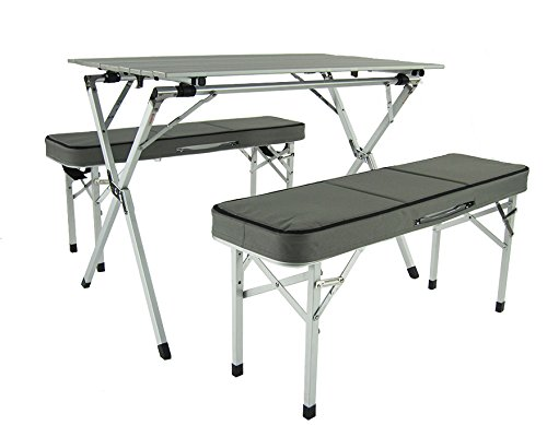 Amazon.com : Onway Aluminum Portable Folding Roll Table & Bench Set ...