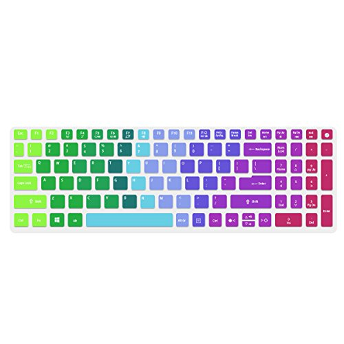Keyboard Cover Compatible with Acer Aspire E15,E5-575 E5-576G E5-573G ES15 ES1-572/Aspire E 17 E5-772G/Aspire V15 V17 VN7-592G VN7-792G F15 F5-571 F5-573G/Aspire A315 A515 A715,Rainbow (Keyboard Skin Acer Aspire)