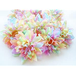 "(12) Light Rainbow Silk Dahlia Flower Heads - 4"" - Artificial Flowers Dahlias Head Fabric Floral Supplies Wholesale Lot for Wedding Flowers Accessories Make Bridal Hair Clips Headbands Dress 20"