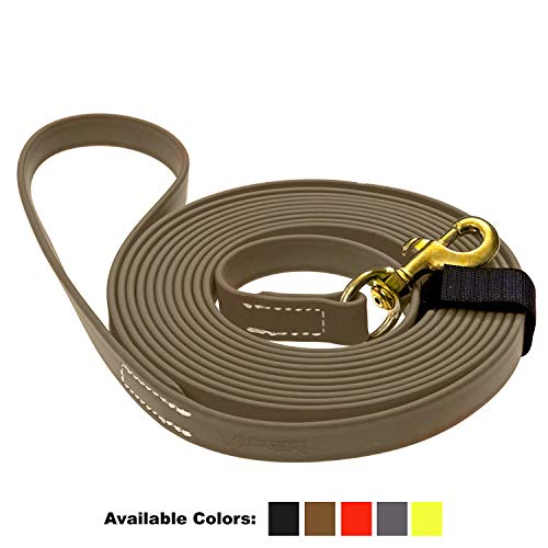 (Viper Biothane K9 Working Dog Leash Waterproof Lead for Tracking Training Schutzhund Odor-Proof Long Line with Solid Brass Snap for Puppy Medium and Large Dogs 0.75 in Wide by 20 ft Long Coyote Brown)