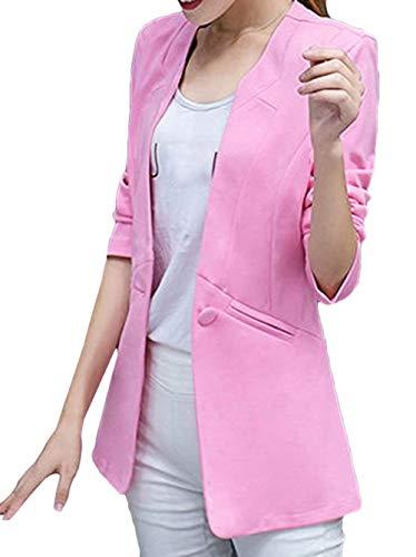 Fashion Rosa Business Lunga Tailleur Puro Casual Donna Cappotto Primaverile Blazer Fit Ufficio Giovane Da Manica Classiche Slim Giacca Eleganti Autunno Camicia Colore Women wxOqaBg