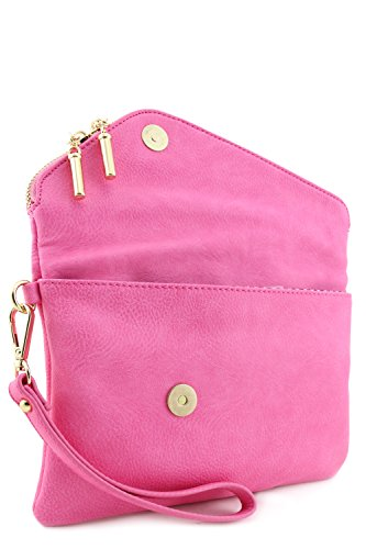 Pink Bag Strap Crossbody Clutch with Chain Wristlet Envelope n7ax1t